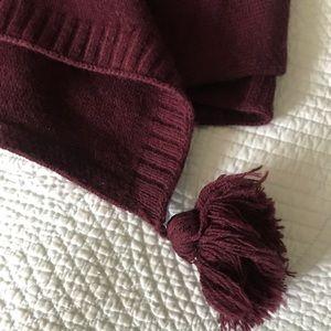 Super soft wine colored knit poncho